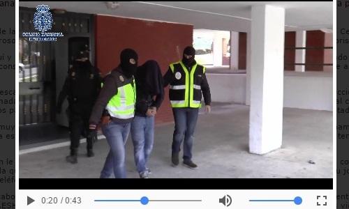 Fragmento del vídeo de la detención del terrorista, archivo de la Policía Nacional