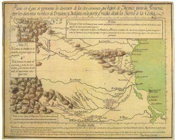 Plano. Dirección de los caminos que bajan de México a Veracruz. Diego García Conde (1798). AGN