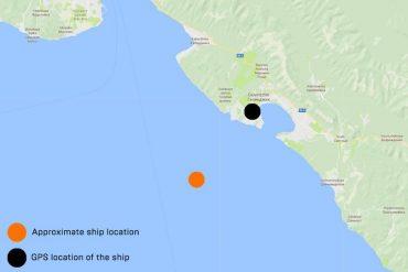 La ubicación aproximada de Atria en el Mar Negro y donde los datos de ubicación GPS creían que el barco estaba. Fuente: Wired.