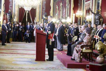 El Rey Felipe VI, durante su intervención en la Pascua Militar.